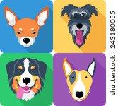 set dog icon flat design  bull... | Shutterstock .eps vector #243180055