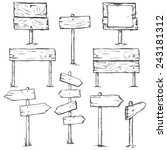 vector set of sketch signposts | Shutterstock .eps vector #243181312
