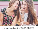 two young female friends laugh... | Shutterstock . vector #243188278