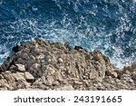 Wild Blue Sea Hitting Rocky...