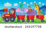 train with animals in landscape ... | Shutterstock .eps vector #243197758