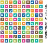 100 cafe icons big universal... | Shutterstock .eps vector #243213436