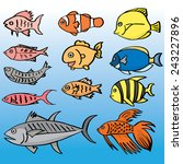 vector set of fish | Shutterstock .eps vector #243227896