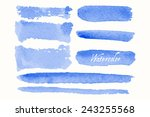 set of blue watercolor blobs... | Shutterstock .eps vector #243255568