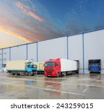 cargo truck at warehouse... | Shutterstock . vector #243259015