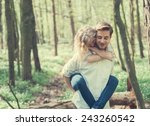 cheerful pair of lovers in... | Shutterstock . vector #243260542