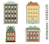 set of 4 houses. vector... | Shutterstock .eps vector #243281155