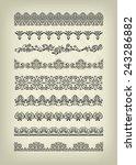 set of vintage line borders on... | Shutterstock .eps vector #243286882