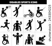 disabled sports black pictogram ... | Shutterstock .eps vector #243304225