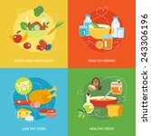 healthy eating flat icons set... | Shutterstock .eps vector #243306196