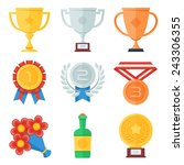 trophy and awards flat icons set | Shutterstock .eps vector #243306355