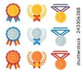 gold  silver  bronze medal in... | Shutterstock .eps vector #243306388