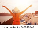 happy woman in sun hat enjoying ... | Shutterstock . vector #243313762