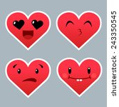 set of red heart emoticons with ...   Shutterstock .eps vector #243350545