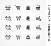 vector set of shopping cart...