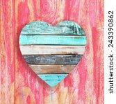 Wooden Heart On Vintage...