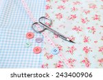sewing tools in a vintage...   Shutterstock . vector #243400906
