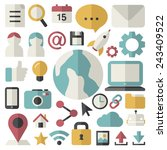 social media internet online... | Shutterstock .eps vector #243409522
