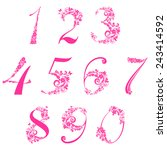 floral numbers set  isolated on ... | Shutterstock .eps vector #243414592