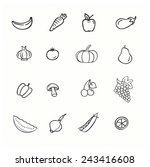 vector set of vegetables  apple ... | Shutterstock .eps vector #243416608