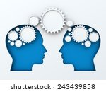 Stock photo infographic with paper cut heads and gears with copyspace d render 243439858