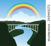 rainbow over a bridge eps 10...