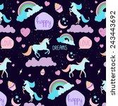 seamless unicorn pattern | Shutterstock .eps vector #243443692