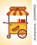 retro hot dog cart. | Shutterstock .eps vector #243449902
