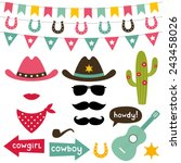 cowboy vector design elements... | Shutterstock .eps vector #243458026