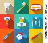 Dental Flat Long Shadow Icons...