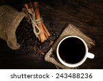 black coffee in coffee cup and...   Shutterstock . vector #243488236