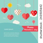 background with hanging hearts... | Shutterstock .eps vector #243505642