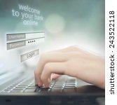 business man pressing buttons... | Shutterstock . vector #243522118