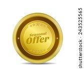 seasonal offer golden vector...   Shutterstock .eps vector #243525565