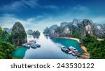 tourist junks floating among... | Shutterstock . vector #243530122