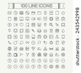 100 thin line icon set. simple...