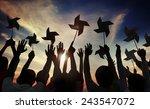 slihouette wind wheel...   Shutterstock . vector #243547072
