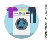 Stock vector washing machine icon and laundry designed elements flat style vector illustrations 243560458