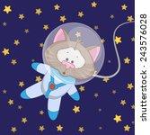 cat astronaut on a stars... | Shutterstock . vector #243576028