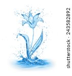 Flower Made Of Water Isolated