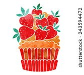 watercolor colorful cupcake... | Shutterstock .eps vector #243594472