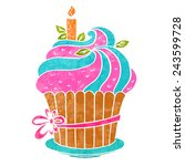 watercolor colorful cupcake... | Shutterstock .eps vector #243599728