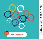 gear heads teamwork. vector... | Shutterstock .eps vector #243614788