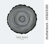Vector Tree Rings And Saw Cut...
