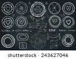 hand drawn frame wreath  line... | Shutterstock .eps vector #243627046