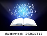 opened magic book with alphabet ... | Shutterstock . vector #243631516