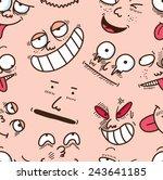 cartoon face seamless background | Shutterstock .eps vector #243641185