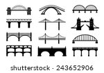 Stock vector vector bridges silhouettes icons black silhouettes of beautiful bridges on a white background for 243652906