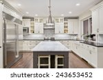 kitchen interior in new luxury... | Shutterstock . vector #243653452