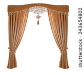 fabric curtains on a white... | Shutterstock . vector #243654802